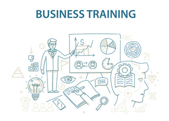 Doodle style design concept of business training and learning.