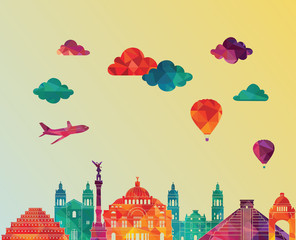 Mexico skyline detailed silhouette. Vector illustration
