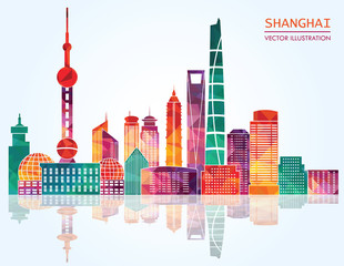 Shanghai detailed skylines. vector illustration