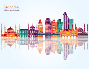 Istanbul detailed skylines. vector illustration