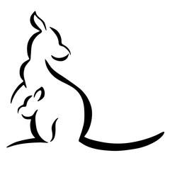 Kangaroo with baby logo