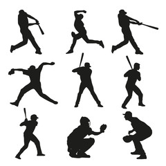 Set of baseball players silhouettes. Batter, catcher, pitcher, b