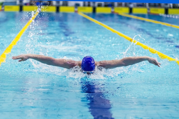 young athlete male swimmer swimming in pool butterfly. front view