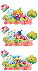 Three scenes of clown smiling in the garden