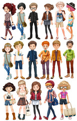 Hipster people in fashionable clothes