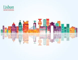 Lisbon skyline. Vector illustration