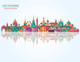 Saint Petersburgh detailed skylines. vector illustration