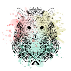 Chinese crested graphic dog, abstract vector illustration
