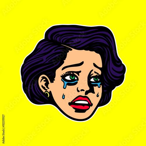 Sad Broken Hearted Crying Girl Face Sobbing Pop Art Vintage Cartoon Style Vector Illustration