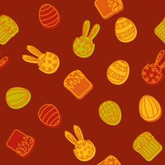 Easter background seamless egg ,Easter cake, rabbit