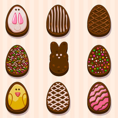 Happy easter Choclate cookies vector