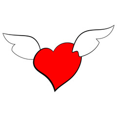 Vector of a heart with wings