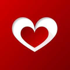 Valentines day heart on red background. Vector illustration.