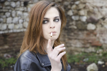 Ginger girl with cigarette