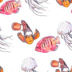 Sea pattern. Tropical fish. Medusa. Ocean vector.