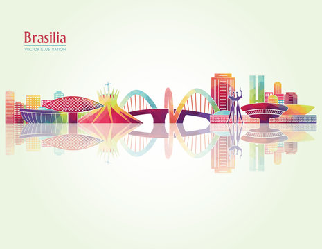 Brasilia detailed skylines. vector illustration