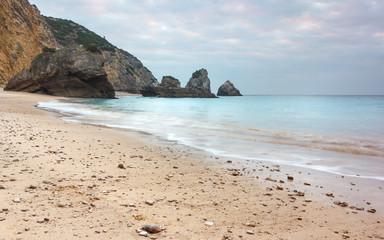 turquoise sea, white sand, sun, beach with very beautiful nature