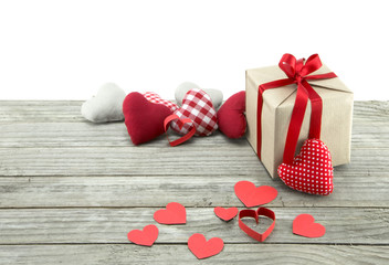 Assorted hearts and present