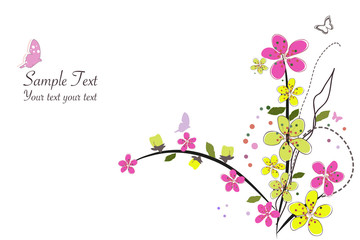 Spring time pink flowers vector illustration border design background