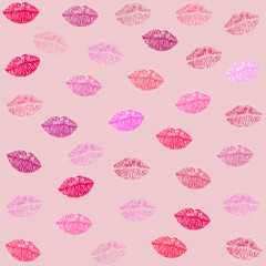 Valentine's Day background, Kiss and lips textile pattern vector