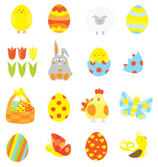 Easter elements collection with easter eggs, basket, cute bunny , tulip, chick, sheep / vectors set for children