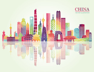 China skyline detailed silhouette. Vector illustration