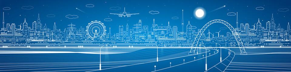 City infrastructure panorama, industrial landscape, road under the bridge, vector design neon lines town