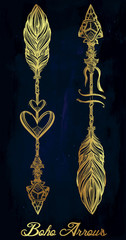 Ethnic boho decorative arrows set in tattoo style.