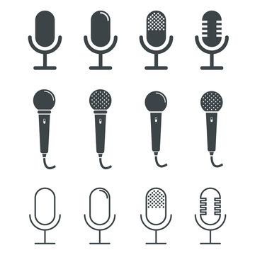 Microphone icons on white background. Vector illustration.
