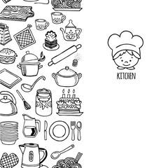 Kitchen utensils and appliance vertical banner