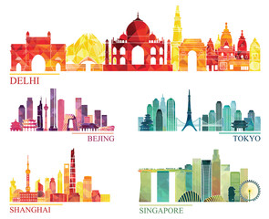 Skyline detailed silhouette set (Delhi, Beijing, Tokyo, shanghai, Singapore). Vector illustration