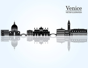 Venice detailed skyline. vector illustration