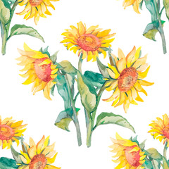 Sunflowers vector pattern watercolor.