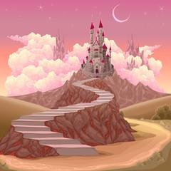 Fotobehang Kinderkamer Fantasy landscape with castle