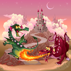 Acrylic Prints kids room Funny dragons in a fantasy landscape with castle