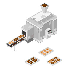 A vector illustration of a Factory cookie and cake machine.