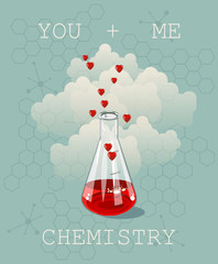 Invitation card on background. Illustration for Valentines day or wedding. Illustration of chemistry flask filled with hearts. Chemistry and love