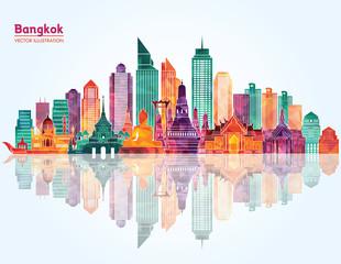 Bangkok detailed skyline. Vector illustration
