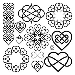 Set Hearts Intertwined in Celtic Knot