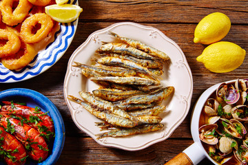 Spanish seafood tapas clams anchovies shrimps
