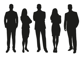Business people, set of vector silhouettes Wall mural