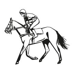 Horse racing, vector drawing