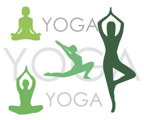 Yoga poses woman's silhouettes on white background vector illustration