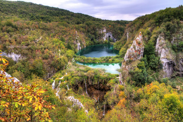 Stunning autumn view on the waterfalls and lakes in Plitvice national park, an UNESCO world heritage site, in Croatia. HDR