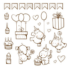 Birthday coloring  book. Cute hippopotamuses, gifts, cake, candle, balloon and candy. Vector illustration.