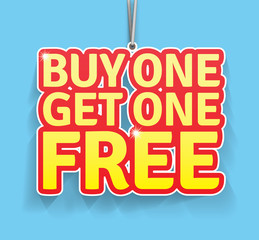 Buy one get one free label. EPS10, CMYK.