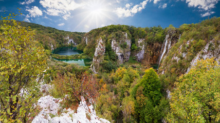 Magnificent view on the beautiful falls of Plitvice national park in Croatia, a UNESCO world heritage site.