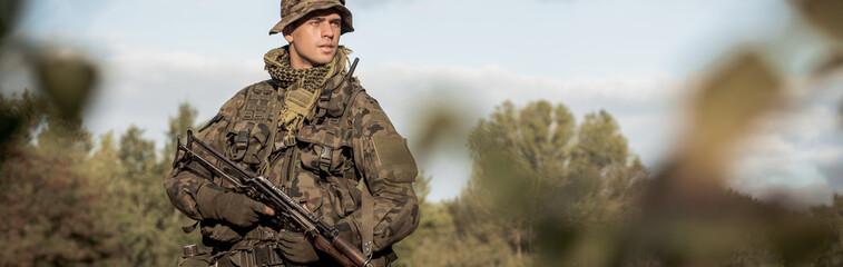 Soldier on training ground