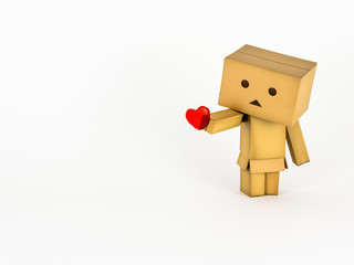 Cute Danbo character lovingly holds out a red heart.