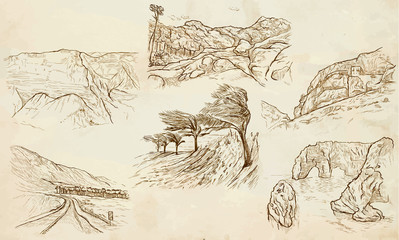 Famous places, landscapes and sceneries - vector, freehands